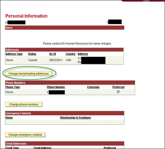Personal information screen shot